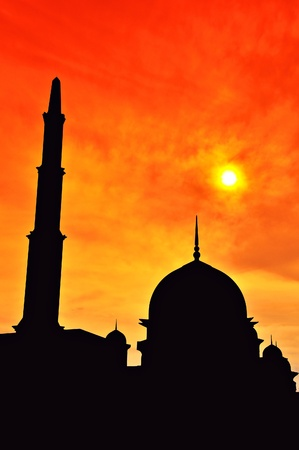 Scenery of silhouetted mosque during sunset photo