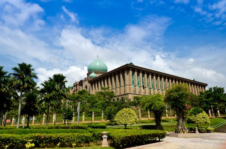 islamic scenery: Malaysia Prime Minister Office from lateral view at Putrajaya, Malaysia  Stock Photo