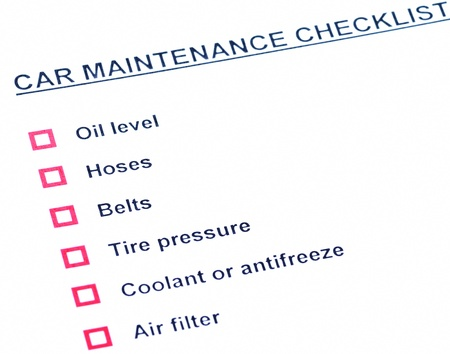 Blank car maintainance checklist photo