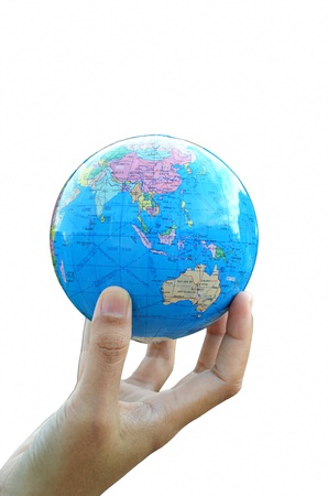 south east asia map: A globe on hand