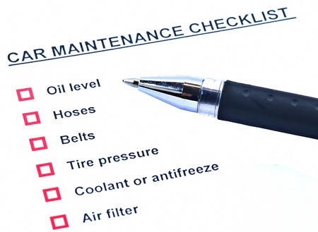 Pen and blank checklist car maintainance photo