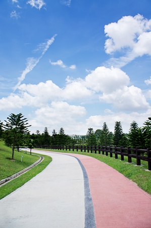 water scape: Jogging path and blue sky