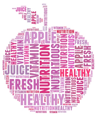 飲食Apple資訊,文字圖形和排列的概念 版權商用圖片