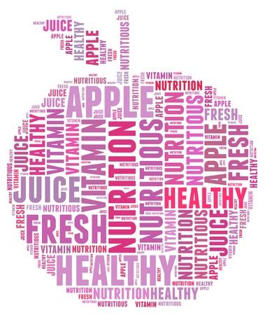 textcloud: Diet apple info-text graphics and arrangement concept