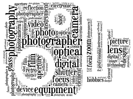사진 정보 - 텍스트 그래픽과 고전적인 사진기 모양 개념 배열 스톡 콘텐츠