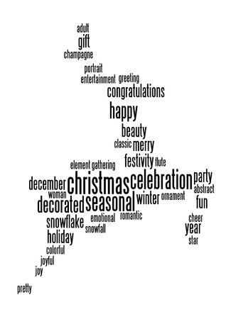 Christmas celebration info-text graphic and arrangement with jumping deer shape concept photo