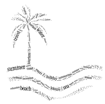 travel collage: Summer holiday info text cloud collage palm beach concept