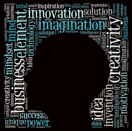 cerebro blanco y negro: Texto El pensamiento creativo nube collage Foto de archivo