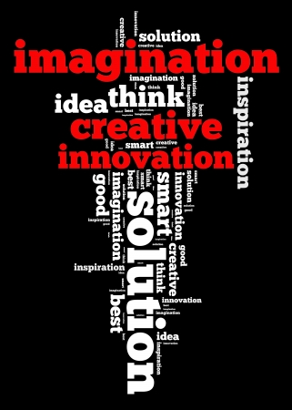 word collage: Creative thinking info text cloud collage
