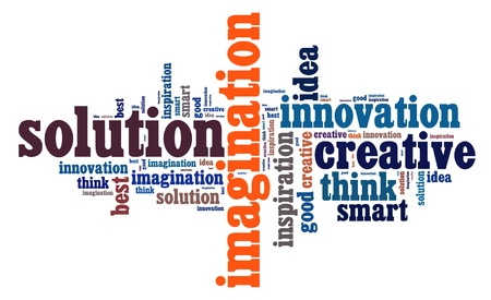 Creative thinking info text cloud collage photo