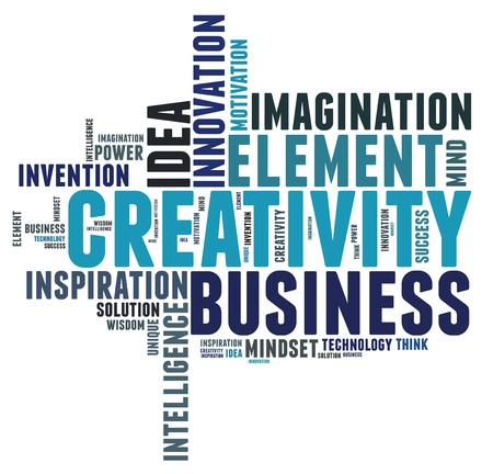 word collage: Creative thinking text cloud collage  Stock Photo