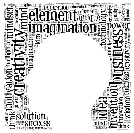 창조적 인 생각 텍스트 구름 콜라주
