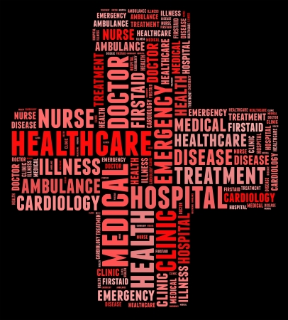 Emergency info text cloud collage red cross concept photo