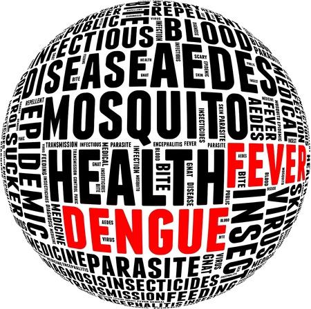 moscerino: Dengue info-grafica di testo e la disposizione con il concetto di cerchio forma Archivio Fotografico