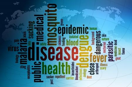 salud publica: Wordcloud ilustraci�n de la enfermedad de la fiebre del dengue en todo el mundo