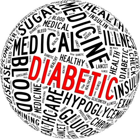 당뇨병 건강 관리 정보를 텍스트 그래픽과 원형 모양의 개념 구성