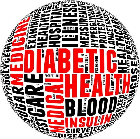 chronic: Diabetic health care info-text graphics and arrangement with circle shape concept