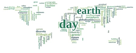 recycling campaign: Green earth text graphic and arrangement with world map shape concept - For green earth campaign
