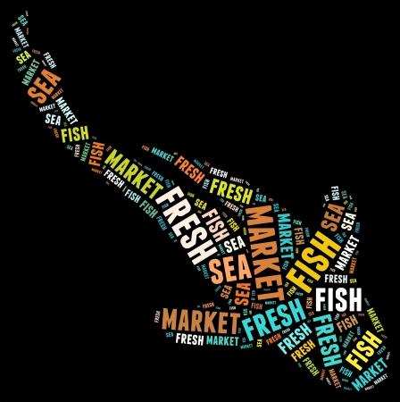 魚のコンセプトの形で新鮮な魚テキスト クラウド コラージュ