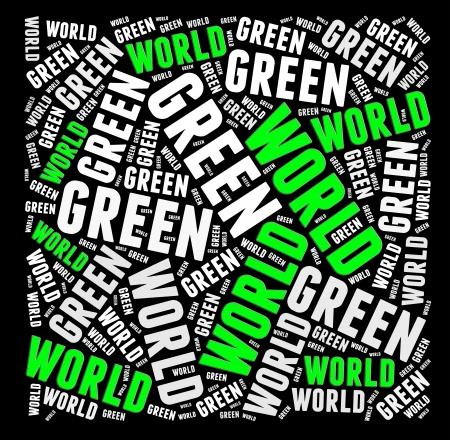 textcloud: Green world info-text graphics and arrangement concept  Stock Photo