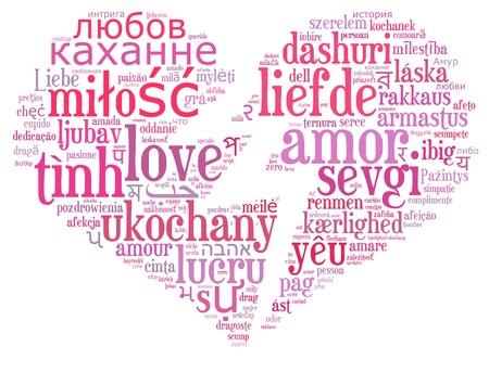 textcloud: Love info-text cloud various language and arrangement with crack heart shape concept