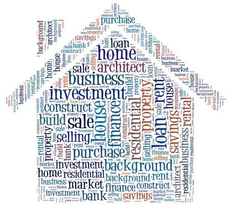 房子的貸款發出的信息文本在一所房子的形狀組成