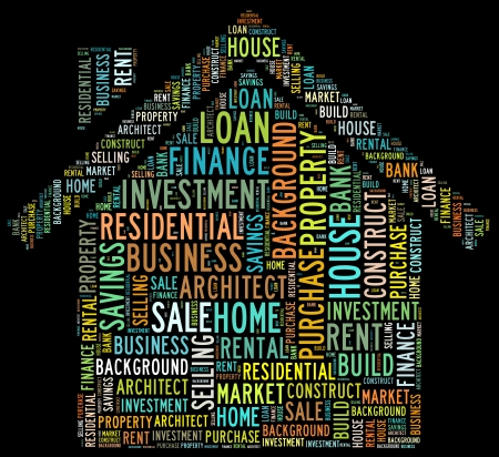 House loan issues info-text composed in the shape of a house