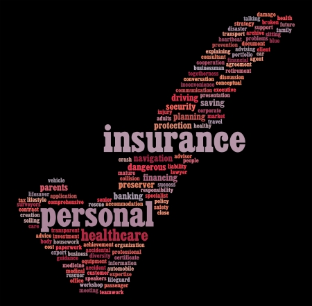 保險信息文本圖形和黑色背景上的安排,概念