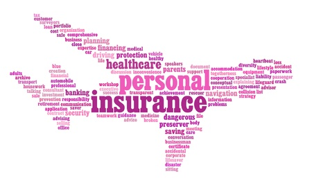 Insurance info-text graphics and arrangement concept on white background photo