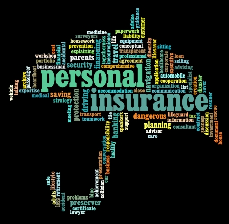 insurance consultant: Insurance info-text graphics and arrangement concept on black background Stock Photo