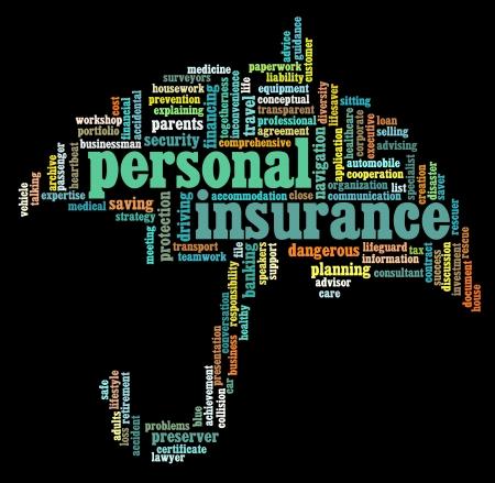seguros: Seguros de texto info-gr�ficos y conceptuales acuerdo sobre fondo negro