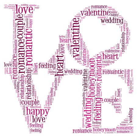 textcloud: Love info-text cloud and arrangement collage