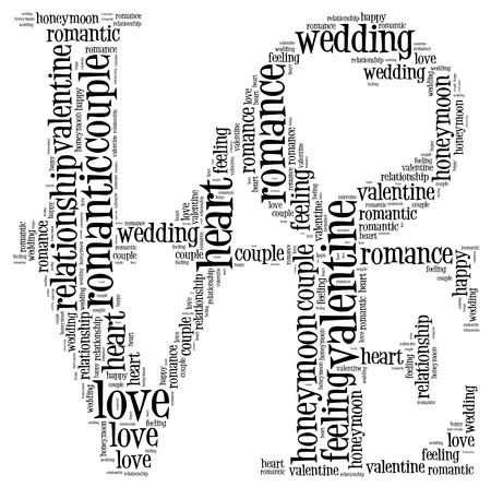 word clouds: Love info-text cloud and arrangement collage