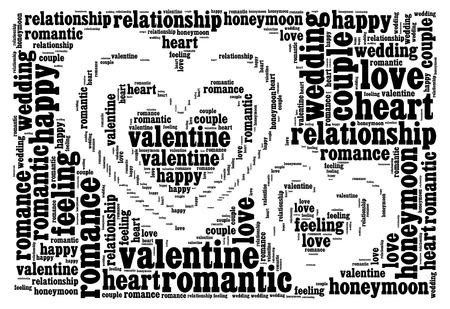 tag cloud: Love info-text cloud and arrangement collage