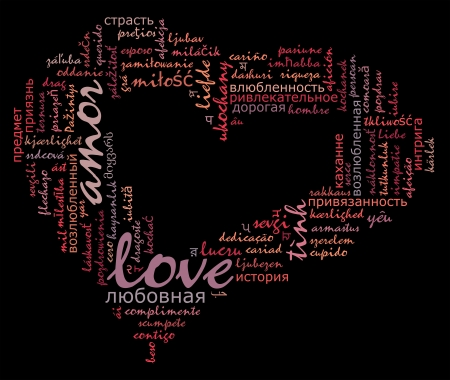 alphabet wallpaper: Love info-text cloud various language and arrangement with heart shape concept
