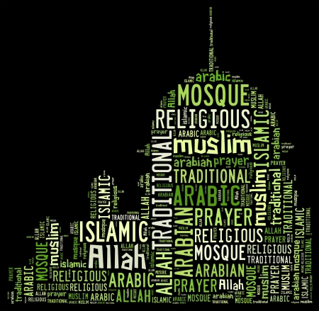 allah: Muslim info-text graphics and arrangement with mosque shape concept
