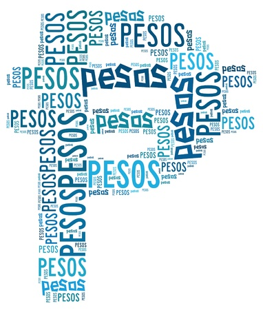 pesos: Currency info-text graphic and arrangement