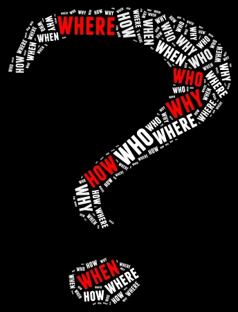 questionaire: Question info text graphic and arrangement concept with question mark shape  Stock Photo