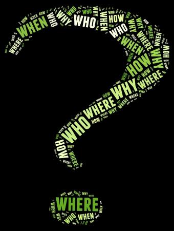 kwis: Vraag info tekst grafische en opstelling concept met vraagteken vorm