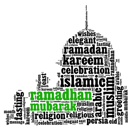 Ramadhan info text cloud collage with mosque shape concept