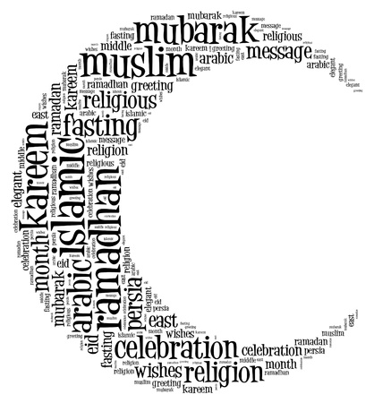 ramadhan: Ramadhan info text cloud collage with crescent shape concept