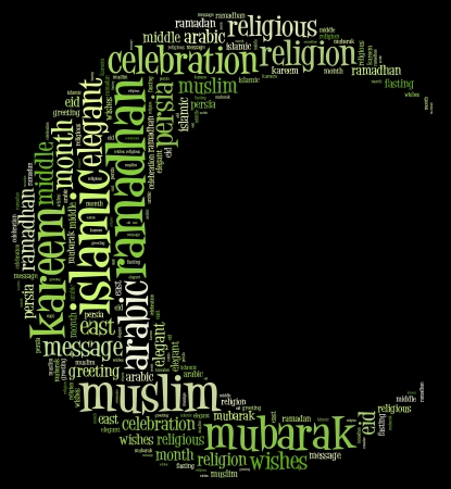 Ramadhan info text cloud collage with crescent shape concept