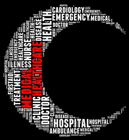 Emergency info text cloud collage crescent concept Stock Photo - 15874926