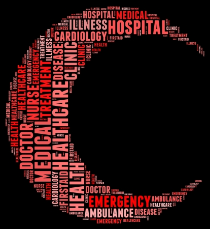 Emergency info text cloud collage red crescent concept photo