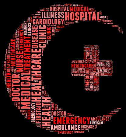 Emergency info text cloud collage crescent concept photo