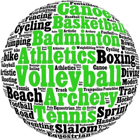 sports symbols: Various sport info-text graphics and arrangement concept  Stock Photo
