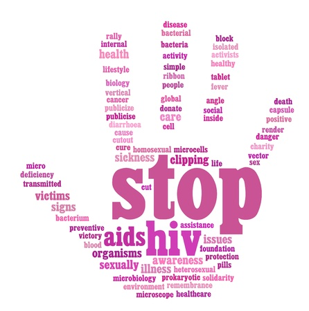 HIV AIDS 정보 텍스트 그래픽과 배치 손 기호 개념