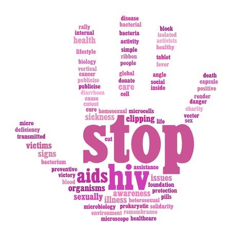 HIV AIDS info-text graphics and arrangement hand symbol concept Stockfoto
