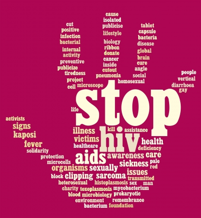 HIV AIDS info-text graphics and arrangement hand symbol concept  Stock Photo - 15875090