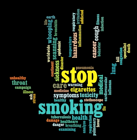 quit: Stop Smoking info-text graphics and arrangement hand symbol concept